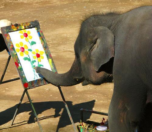 Рисование слонов: это жестокое обращение с животными?